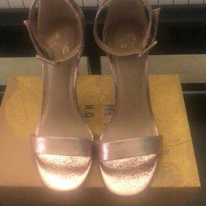 Rose gold stiletto sandals!  Glam!